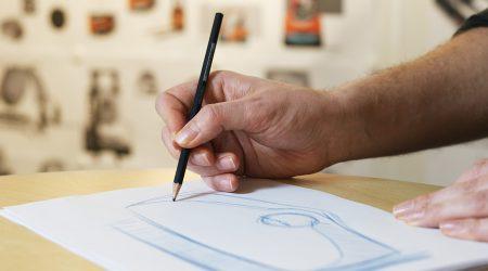 Designer sketching a warehouse truck